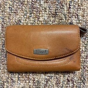 Vintage FOSSIL Leather Bifold Wallet Coin Purse